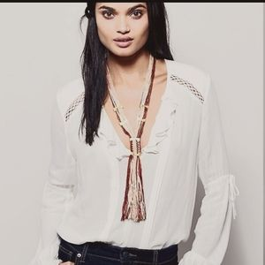 Free People Tan & White Open Road Fringe Necklace